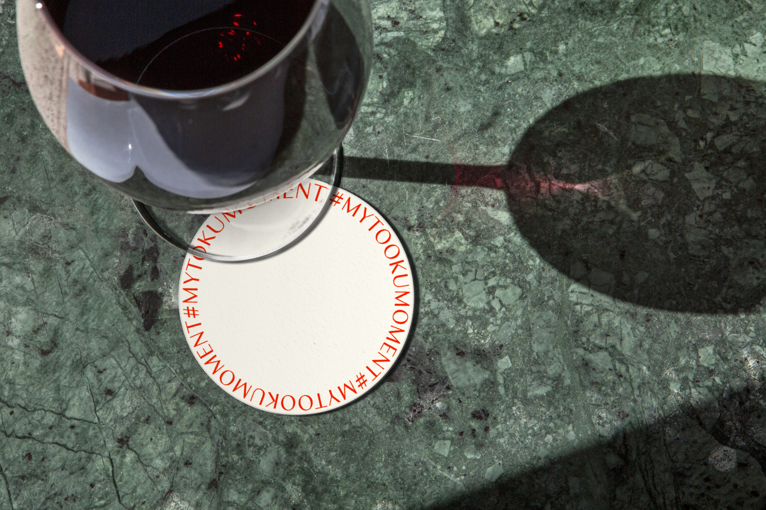 coaster for wine chalice on green marble